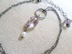 Amethyst and Pearl Silver Necklace  Wire by MoonstonesAndWhimsy