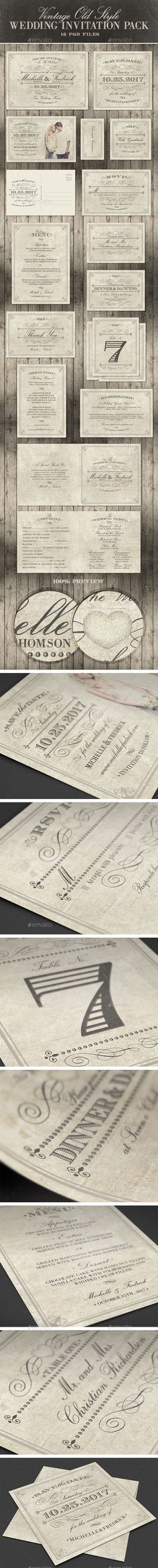 VINTAGE!! Old style wedding invitation pack. #vintage Visit and download here https://graphicriver.net/item/-wedding-invitation-package-vintage-old-style/8622557?s_rank=41?ref=arcford