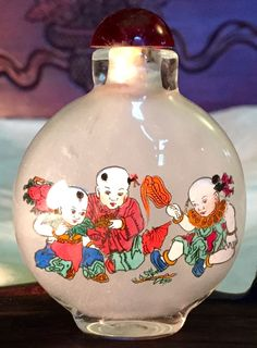 Vintage Chinese Glass Snuff Bottle, Inside Painted Children Playing/Calligraphy (7030)