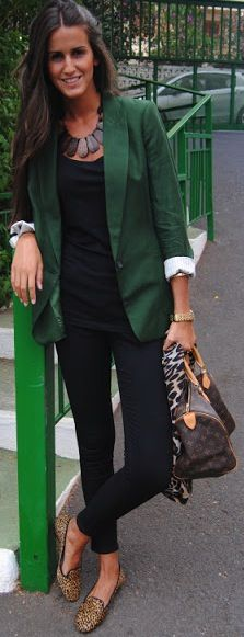 leopard loafers & green blazer; to die for