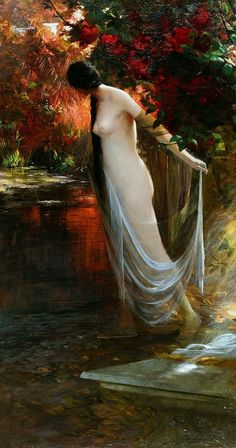 """Carlos Ewerbeck (German, active early 20th century) – Ophelia at the River's Edge, c.1900 (Oil on canvas) - """"There is a willow grows aslant a brook That shows his hoar leaves in the glassy stream. There with fantastic garlands did she come Of crowflowers, nettles, daisies, and long purples, That liberal shepherds give a grosser name, But our cold maids do """"dead men's fingers"""" call them."""""""