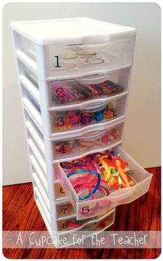 """Reward drawers....each drawer can be marked with an amount. They need to earn that amount in class cash to """"buy"""" something in that drawer. Could include certificates for dress down days, homework passes, etc. FREE prizes! :-)"""