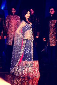 blue and red lengha