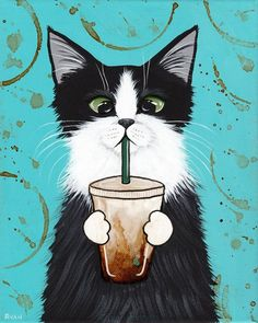 Tuxedo Cat with Iced Coffee Original CAT Folk Art Painting by KilkennycatArt
