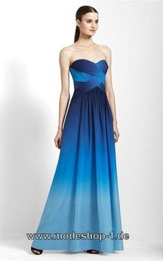 Abendmode Blaues Empire Abendkleid