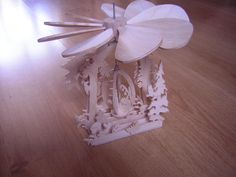 """Eastern candle hot air mill.  1/8"""" Baltic birch plywood unfinished surface."""