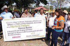 Karina Barón, mujer incansable. Inaugura techado y arranca ampliación de viviendas en Tuxtepec