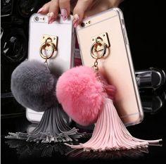 Para iphone4s 5S 5c 6/6 s Más 7/7 Plus Caso Fundas de Bola de pelo de Conejo borlas de Metal Anillo Casos Tpu + PC Dura Cubierta Coque Girly