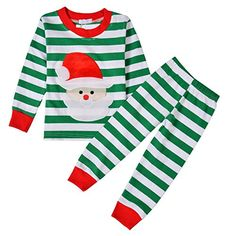 """Arshiner Boys or Girls """"Striped"""" 2 Piece Cute Christmas Pajama Set"""