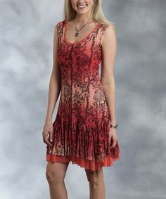 This Red Paisley Ruffle Dress - Women is perfect! #zulilyfinds