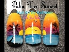 Palm tree sunset, summer nail art nail art & designs в 2019 Cruise Nails, Vacation Nails, Sunset Nails, Beach Nails, Palm Tree Nail Art, Nail Drawing, Holiday Nail Art, Nail Art Hacks, Trendy Nails