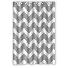 Custom Love Chevron Pattern Grey White Polyester Fabric W…