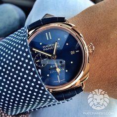 #RobValaInsights Magazine Brutalmente hermoso el reloj y fascinante la camisa. ¿No creen? Blue face + Gold + Panerai = lust