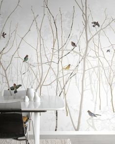 ideas bedroom wallpaper nature tree wall for 2019 Bedroom Wallpaper Nature, Wallpaper Bathroom Walls, Trendy Wallpaper, Photo Wallpaper, Of Wallpaper, Tree Bark Wallpaper, Home Decor Bedroom, Cheap Home Decor, Decoration