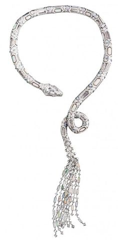 boucheron serpent necklace with diamonds, opal and rock crystal