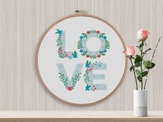 BOGO FREE! Love Cross Stitch Pattern, Floral love Counted Cross xStitch, Flowers letters, Modern Wall Decor, PDF Instant Download  #011-5 by StitchLine on Etsy