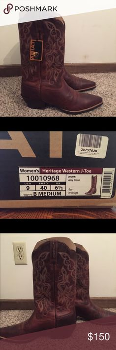 Ariat Women's Cowgirl Boots Heritage Western J-toe boots. Size 9 medium b. New with tags and original box. Never been worn Ariat Other