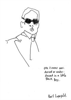 """One is never overdressed or underdressed with a Little Black Dress."" – Karl Lagerfeld (illustration by Helen Bullock)"
