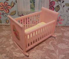 Renwal BABY CRADLE / CRIB Vintage Dollhouse Furniture Plastic Ideal Marx Plasco  #Renwal