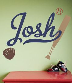 Baseball Name Decal Set - Boy Sports Bedroom Decal on Etsy, $24.00