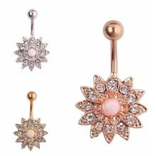 Rhinestone Flowers Piercing Belly Button Ring Barbell Piercing Ring Body Jewelry Summer Style Women Body Chains Plug(China (Mainland))