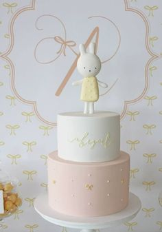 Abigail's christening styled by One lovely Day, cake and sweet by Hello Naomi (cute miffy theme) Más Pretty Cakes, Cute Cakes, Beautiful Cakes, Amazing Cakes, First Birthday Cakes, Birthday Cake Girls, Bunny Birthday, Bolo Miffy, Miffy Cake