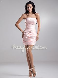 Blush Pink Sheath Satin Ruched Short Strapless Zipper Cocktail Dress - US$89.99 - Style PCK6956 - Pretty Cocktail