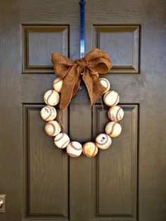 Boys would love this--->step by step tutorial for baseball wreath