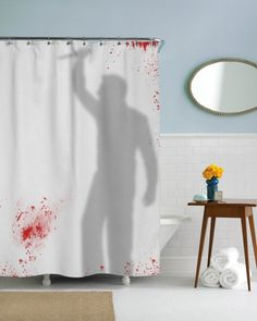 Knife Wielding Psycho Shower Curtain - GREAT FOR A HALLOWEEN PARTY