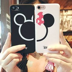 Lovely Cartoon Mickey Minnie Mouse Ears Stars Tassels Pendant Hard Cover Couples Phone Cases For iPhone 7 7Plus 6 6s New Coque