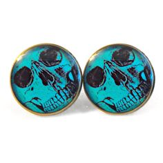 Teal Close UP Skull Earrings, Bubblegum Goth Soft Grunge Pastel Goth... ($10) ❤ liked on Polyvore featuring jewelry, earrings, goth earrings, skull jewelry, skull jewellery, earring jewelry and teal jewelry