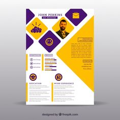 Flat curriculum vitae template Free Vect... | Free Vector #Freepik #freevector #abstract #design #template #resume Resume Design Template, Cv Template, Resume Templates, Resume Format For Freshers, Best Resume Format, Cv Format, Graphic Design Cv, Cv Design, Corporate Brochure Design