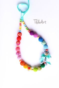 Rainbow Nursing necklace for baby with teddy bear by TildaArt