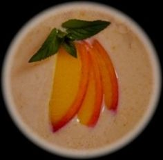 Easy Cold Peach Soup Recipe -- Garnished and ready to serve cold peach soup. © 2011-15 CJS. All rights reserved.