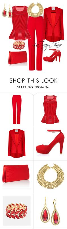 """Monochromatic Red"" by latonyasfashions on Polyvore featuring ESCADA, Hebe Studio, Chanel, Avenue and Anne Klein"