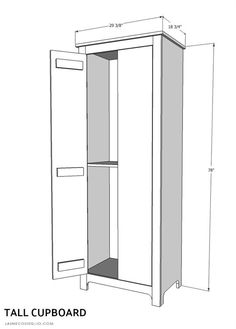 A DIY tutorial to build a tall cupboard with tons of concealed storage. An easy to build cabinet with moveable shelves and doors. Diy Kitchen Storage Cabinet, Diy File Cabinet, Diy Cupboards, Cabinet Plans, Built In Cabinets, Tall Cabinet Storage, Tall Cabinets, Cabinet Making, Kitchen Cabinets