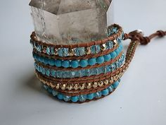 AUTH Chan Luu Turquoise, Gold and Blue Crystal 5 wrap leather bracelet - http://designerjewelrygalleria.com/chan-luu/auth-chan-luu-turquoise-gold-and-blue-crystal-5-wrap-leather-bracelet/