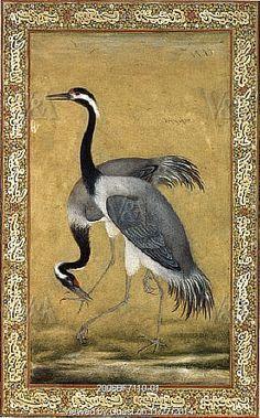 A pair of Saras birds, panel by Ustad Mansur. India, 17th century