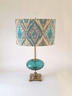 Grande Moroccan, Mixed-Media Table Lamp, Created by Mollie Woods - Turquoise glass and antique brass, beige & turquoise shade Lamp Light, Light Up, Unique Floor Lamps, Media Table, Turquoise Glass, Turquoise Chandelier, Outdoor Light Fixtures, Outdoor Lighting, Room Lamp