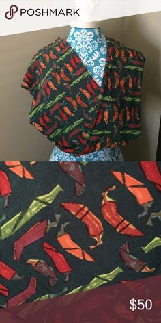 NEW TC Pepper LuLaRoe Leggings *UNICORN* Brand New Tall & Curvy Pepper Leggings. The background is a beautiful hunter green with peppers in hues of green, red, orange, and purple. Perfect for Fall & the Holidays!!! Super soft & buttery!!!   LuLaRoe Pants Leggings