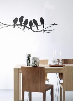 Ferm Living's wall stickers give new life to walls, furniture, windows, or anything with a flat surface, really. Our wall decals are easy to apply and simple to remove. Choose from our wide range of modern, bold designs to fit your personality!,Lovebirds - black, Ferm Living, Wall Sticker