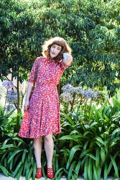 2ec17b3ef34 We channeled Florence today - this cherry red floral dress is a perfect way  to end the cool summer.  36 in our shop!