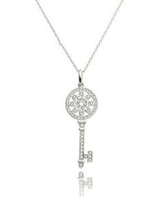 chave tiffany da moda com zirconias cristais e banho de rodio semi joias de luxo