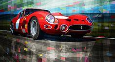 #Ferrari #250 #GTO par Yuriy Shevchuk Article original : http://newsdanciennes.com/2015/07/25/morceaux-darts-du-samedi-yuriy-shevchuk/ #Automotive_Art #Cars #Voitures #Anciennes