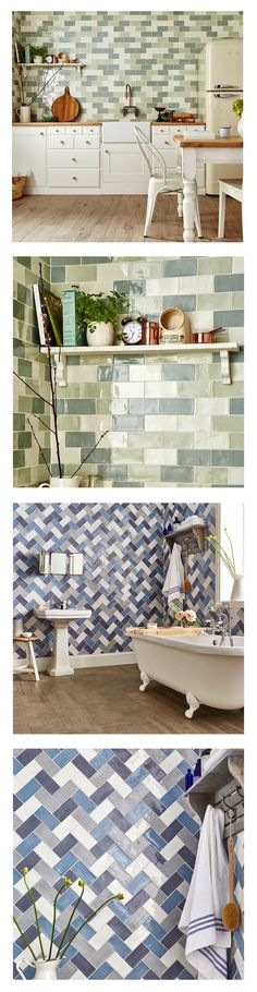 Bring some Spring greens into your home with these gorgeous, bumpy, rustic Country Cottage Metro Tiles. Perfect for creating a farmhouse look splashback in your kitchen, or a feature wall in your bathroom... https://www.wallsandfloors.co.uk/range/country-cottage-metro-tiles