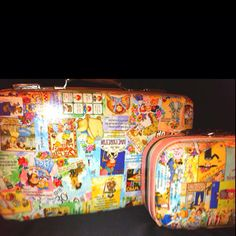 My Suitcases. :) Probably the most favorite thing I've done... Upcycled suitcases from an old calendar & Modge Podge.