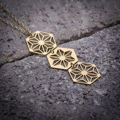 Geometric necklace hexagon necklace hexagonal necklace by ByYaeli