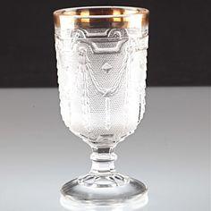1 Fußbecher Becherglas Pressglas Empire Dekor Goldrand Inwald Glas 1914 W7E