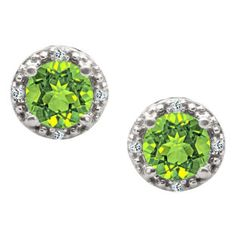Round Cut Peridot Birthstone Diamond White Gold Stud Earrings Available Exclusively at Gemologica.com