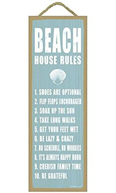 "(SJT02513) Beach house rules (shell image) beach primitive wood plaques, signs - measure 5"" x 15"" size."